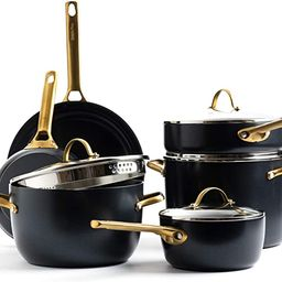 GreenPan Padova Reserve Healthy Ceramic Nonstick, Cookware Pots and Pans Set, 10 Piece, Black and... | Amazon (US)