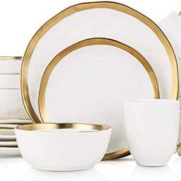 Stone Lain Porcelain 16 Piece Dinnerware Set, Service for 4, White and Golden Rim | Amazon (US)
