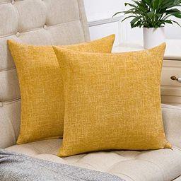 Anickal Set of 2 Mustard Yellow Farmhouse Pillow Covers Cotton Linen Decorative Square Throw Pill... | Amazon (US)
