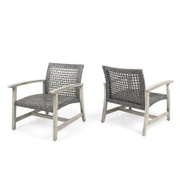 Viola  Outdoor Wood and Wicker Club Chairs, Set of 2, Grey Finish and Mixed Black   Walmart (US)
