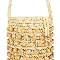 SENSI STUDIO Wood Beaded Mini Bucket Bag in Natural Straw & Beads from Revolve.com | Revolve Clothing (Global)