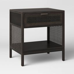 Minsmere Caned Accent Table with Drawer Black - Opalhouse | Target