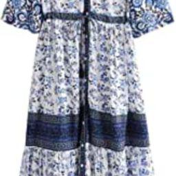 Womens Retro V Neck Tassel Long Sleeve Flowy Printed Bohemian Midi Dresses   Amazon (US)