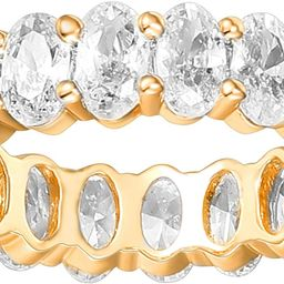 PAVOI 14K Gold Plated Rings Oval Cubic Zirconia Love Ring | 5mm Stackable Rings for Women | Gold ... | Amazon (US)