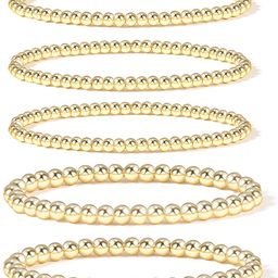 Gold Bead Bracelet for Women,14K Gold Plated Bead Ball Bracelet Stretchable Elastic Bracelet | Amazon (US)