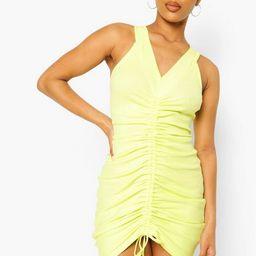 Rib Rouche Front Sleeveless Mini Dress   Boohoo.com (US & CA)