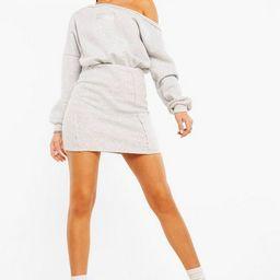 Official Label Detail Slash Neck Sweat Dress   Boohoo.com (US & CA)
