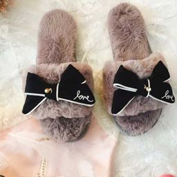Bow Decorated Fluffy Slippers   SHEIN