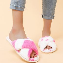 Two Tone Open Toe Fluffy Slippers   SHEIN