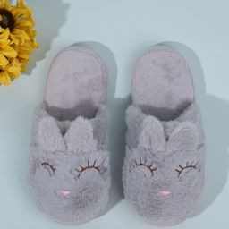 Round Toe Cartoon Graphic Fluffy Slippers   SHEIN