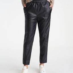 The Petite Faux Leather Pull On Ankle Pant   Ann Taylor   Ann Taylor (US)