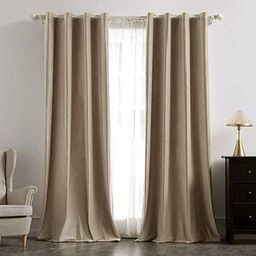 MIULEE 2 Panels Blackout Velvet Curtains Solid Soft Grommet Camel Beige Curtains Thermal Insulate...   Amazon (US)