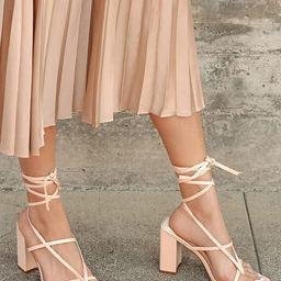 Nani Light Nude Lace-Up High Heel Sandals | Lulus (US)