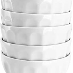 Sweese 106.001 Porcelain Fluted Bowl Set - 26 Ounce for Cereal, Salad and Soup - Set of 6, White   Amazon (US)