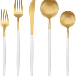 Matte Gold Silverware Set with white handle, Bysta 5-Piece Stainless Steel Flatware Set, Kitchen ...   Amazon (US)
