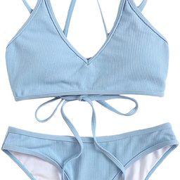 SweatyRocks Women's Bathing Suits Spaghetti Strap Criss Cross Back Bikini Ribbed Swimsuit | Amazon (US)
