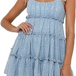 CHYRII Women's Spaghetti Strap Sleeveless Bohemian Shirred Back Ruffled Layer Swing Mini Dress | Amazon (US)