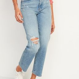 Extra High-Waisted Sky-Hi Straight Button-Fly Ripped Jeans for Women   Old Navy (CA)