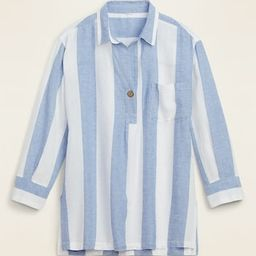 Linen-Blend Popover Tunic Shirt for Women | Old Navy (US)