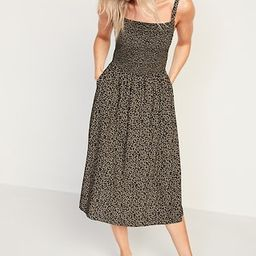Smocked Fit & Flare Cami Midi Dress for Women   Old Navy (CA)