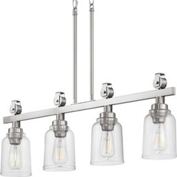 Home Decorators Collection Knollwood 4-Light Brushed Nickel Linear Chandelier with Clear Glass Sh... | The Home Depot