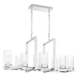 Home Decorators Collection Samantha 60-Watt 8-Light LED Chrome Chandelier with Clear and Frosted ... | The Home Depot