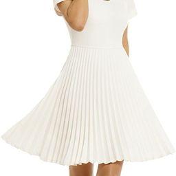 Women's Elegant Pleated Short Sleeves Cocktail Party Swing Dress, White Dresses | Amazon (US)