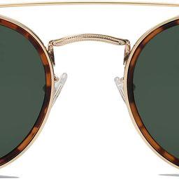 Small Retro Round Polarized Sunglasses UV400 Double Bridge Sunnies SUNSET SJ1104 | Amazon (US)
