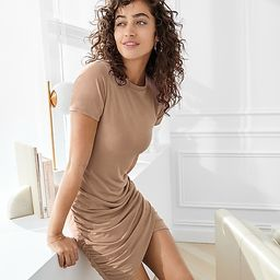 Silky Sueded Jersey Ruched T-Shirt Dress   Express