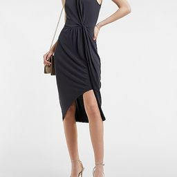 Silky Sueded Jersey Gathered Front Midi Dress   Express