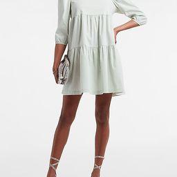 Tiered Trapeze Cotton Poplin Shift Dress   Express