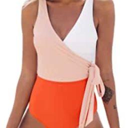 Women's One Piece Swimsuit Wrap Color Block Bowknot Bathing Suit   Amazon (US)
