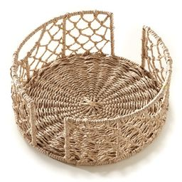 Rattan Look Kitchen Plate Caddy with Metal Frame and Side Handles   Walmart (US)