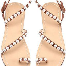 JF shoes Women's Crystal with Rhinestone Bohemia Flip Flops Summer Beach T-Strap Flat Sandals | Amazon (US)