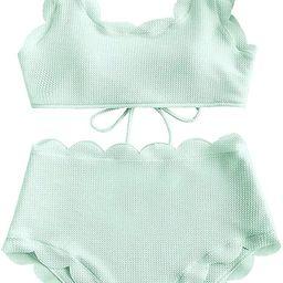 NMQLX Women's Scalloped Split Swimsuit Laces High Waist Bikini | Amazon (US)