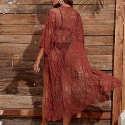 Tie Front Embroidery Sheer Mesh Kimono | SHEIN