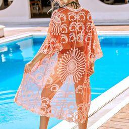 Open Front Embroidered Mesh Kimono Without Bikini | SHEIN