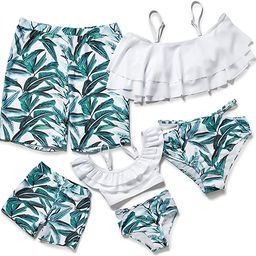 Herbeeza Family Matching Swimsuits, Two Piece Swimsuit High Waisted Off Shoulder Ruffled Printed ... | Amazon (US)