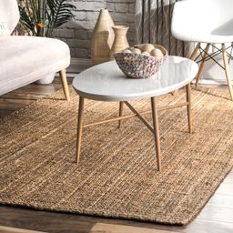 Natural Handwoven Jute Ribbed Solid Area Rug   Rugs USA