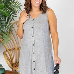 Heartfelt Notes Ribbed Button Grey Dress   The Pink Lily Boutique