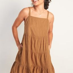 Sleeveless Tiered Dobby Swing Dress for Women | Old Navy (US)