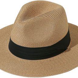 Womens UPF50 Foldable Summer Straw Hat Wide Brim Fedora Sun Beach hat   Amazon (US)