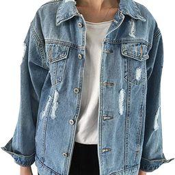 Oversize Denim Jacket for Women Ripped Jean Jacket Boyfriend Long Sleeve Coat   Amazon (US)