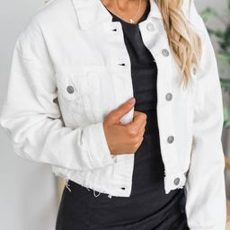 Big Reputation Distressed Denim White Jacket | The Pink Lily Boutique