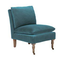 Apadana Velvet Armless Chair - Air Force Blue   OKA Direct (UK)