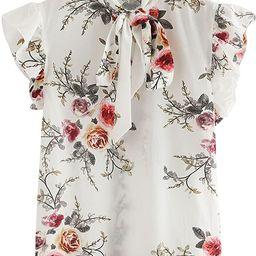 Romwe Women's Casual Short Sleeve Ruffle Trim Bow Tie Blouse Top Shirts   Amazon (US)