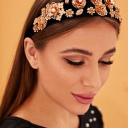 Faux Pearl & Metallic Flower Decor Headband   SHEIN