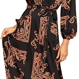 Milumia Women Scarf Print Belted V Neck Long Sleeve Boho Maxi Wrap Dress | Amazon (US)