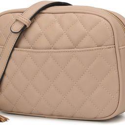 Quilted Crossbody Bag, Medium Lightweight Shoulder Purse Top Zipper Tassel Accent | Amazon (US)