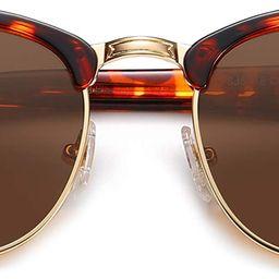 Retro Semi Rimless Polarized Sunglasses Horn Rimmed UV400 Glasses SJ5018 | Amazon (US)